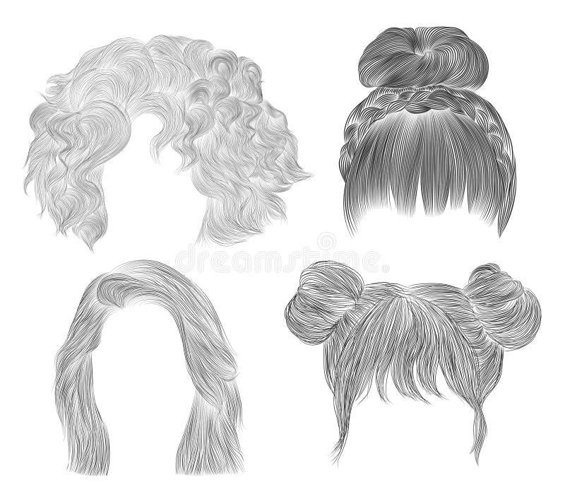 Set  Medium woman hairs  . drawing sketch . women fashion beauty style..  fringe curls cascade Disheveled care plai stock photo
