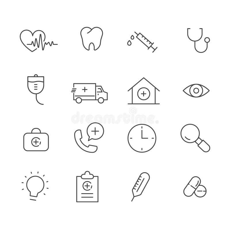 Set medizinische Ikonen Gesundheitswesenkonzept-Symbolentwurf lokalisiert auf weißem Hintergrund lizenzfreie abbildung