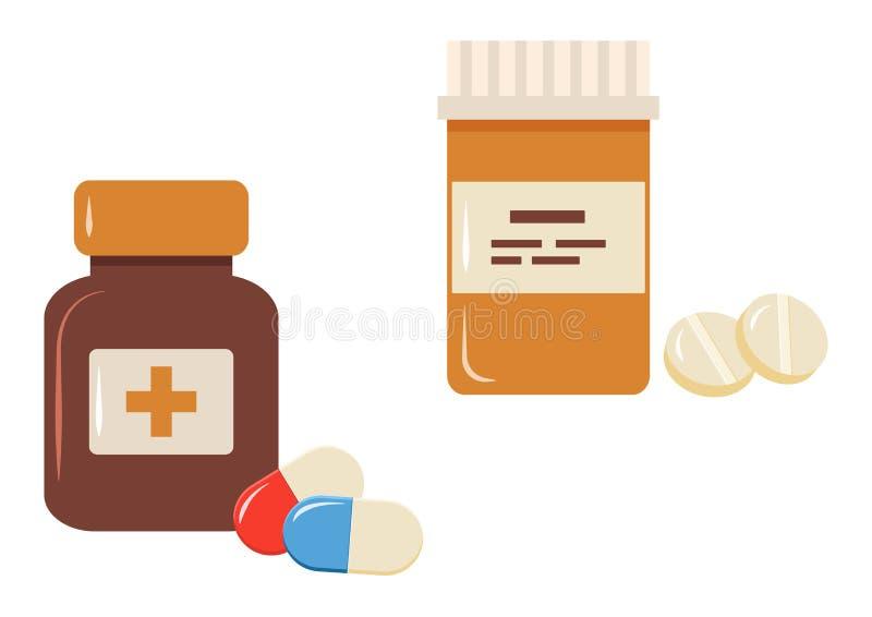 Set medycyn pigułki i butelki również zwrócić corel ilustracji wektora ilustracja wektor