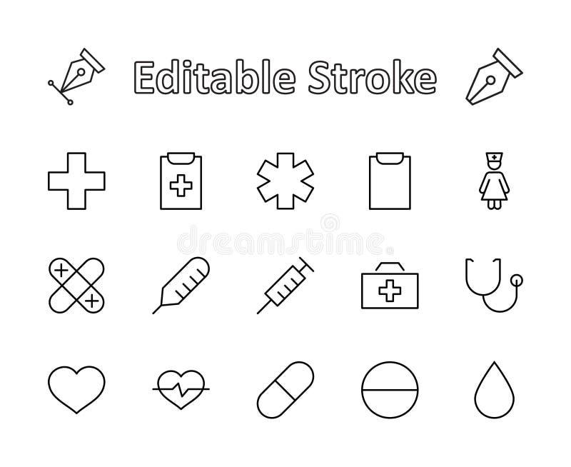 Set medycyna wektoru linii ikony Ja zawiera pierwsza pomoc zestaw, pielęgniarka, strzykawka, termometr, klingeryt, pigułki, serce ilustracji