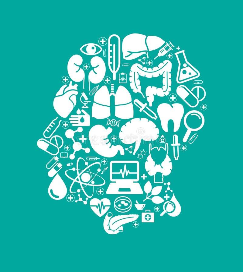 Set medyczne ikony w postaci sylwetki osoby ` s głowa royalty ilustracja