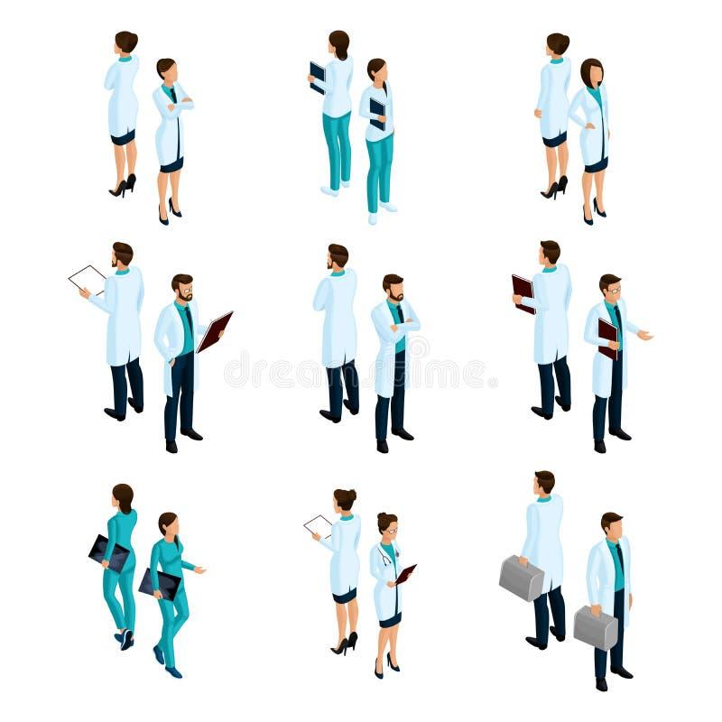 Set medyczni pracownicy w przodzie isometric plecy i, personel szpitala, lekarka, chirurg, pielęgniarka royalty ilustracja