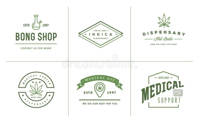 Set Medyczny marihuany marihuany znak lub etykietka szablon w Vect ilustracja wektor