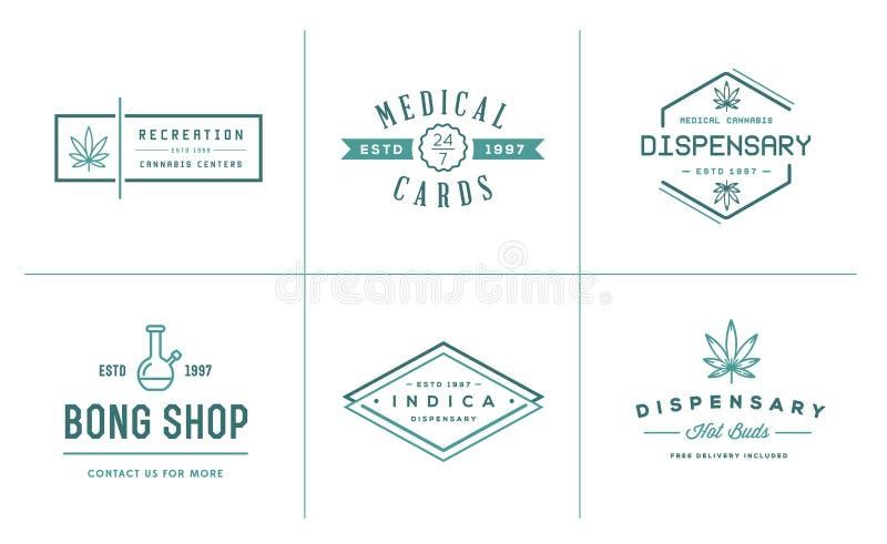 Set Medyczny marihuany marihuany znak lub etykietka szablon w Vect ilustracji
