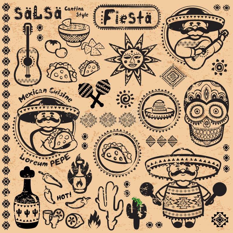 Set Meksykańscy wektorowi symbole ilustracja wektor