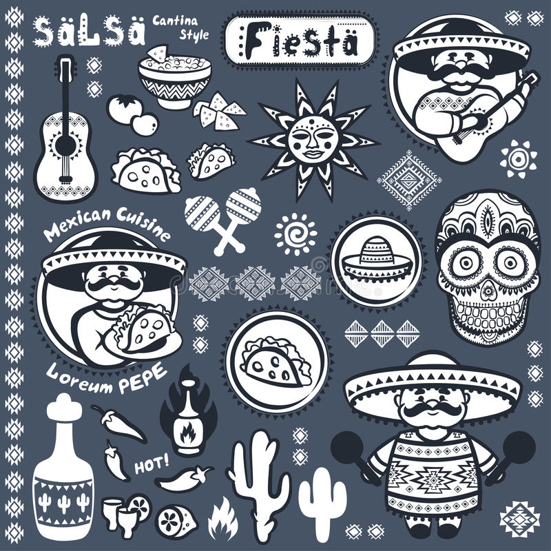 Set Meksykańscy wektorowi symbole ilustracji