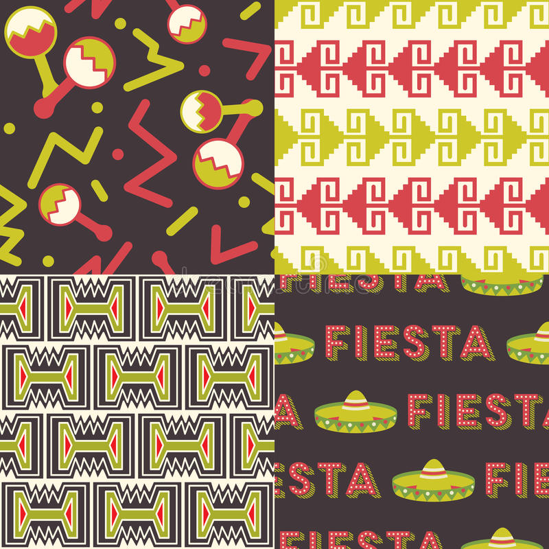 Set Meksykańscy wzory royalty ilustracja