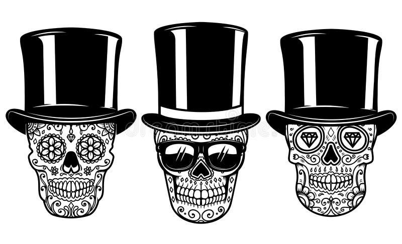 Set meksykańska cukrowa czaszka w roczników okularach przeciwsłonecznych i kapeluszu dzień nie żyje Projektuje element dla plakat ilustracji
