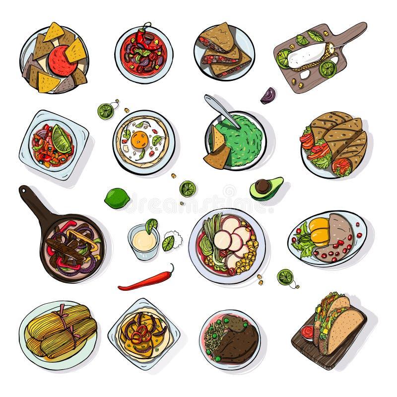 Set meksykański tradycyjny jedzenie Różnych naczyń bobowej polewki inkasowy korzenny chili, nachos, tortilla, fachitos ilustracji