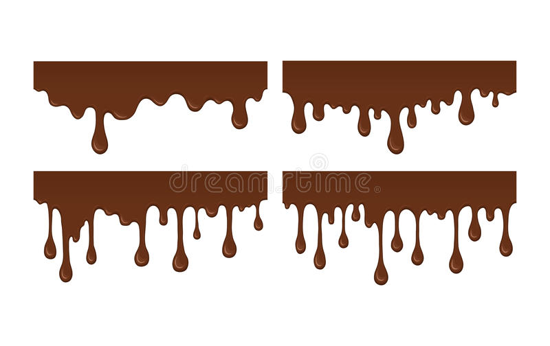 Set of melted chocolate drip. Vector set of brown liquid drops and blots. Collection of splashes liquid and blobs. Melted chocolate drips and flowing. Abstract vector illustration