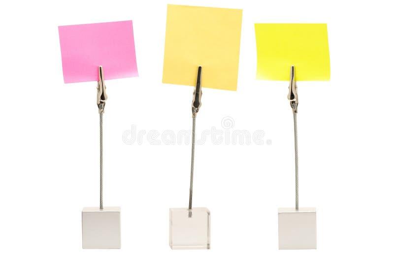 Set of memo holders stock image