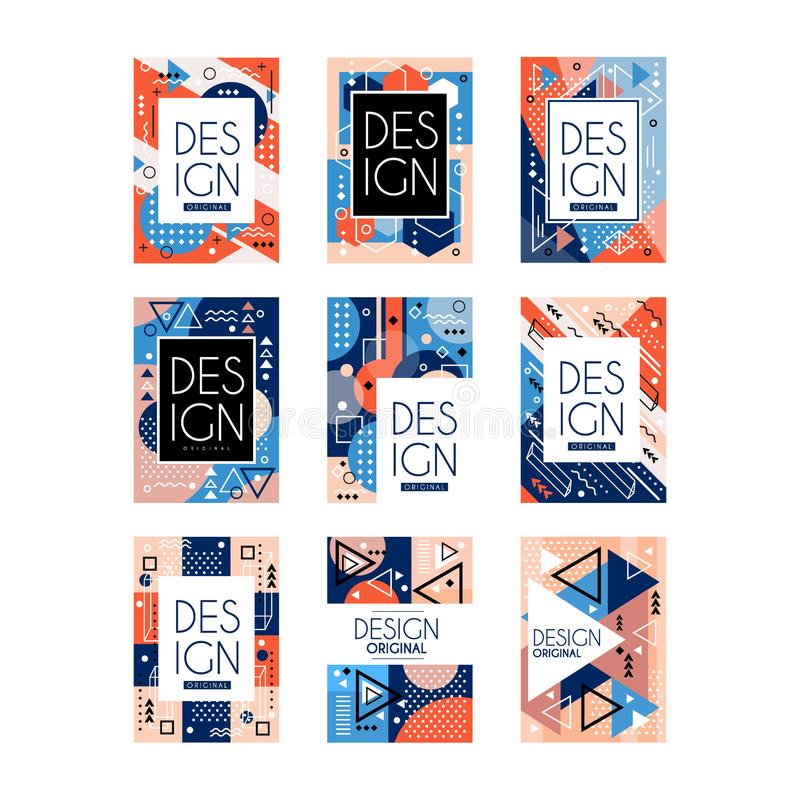 Set of Memphis style cards. Colorful abstract geometric pattern, texture design. Stylish greetings, flyers, hipster royalty free illustration
