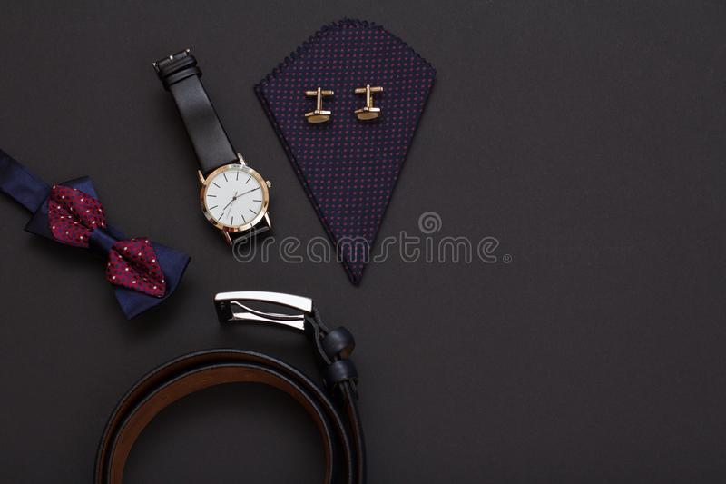 Set of men accessories in business style. Luxury businessman attributes stock images