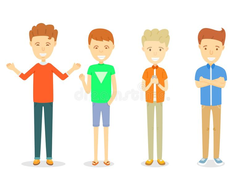 Set of men character standing in casual ware. Collection of Happy guy character smiling, Young men standing in different posture, Set of young men in different royalty free illustration