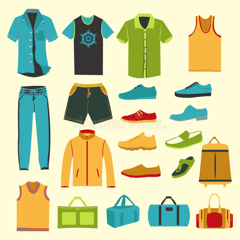 Art Unlimited Sportswear: Set Of Men Clothes And Accessories Icons Stock Vector