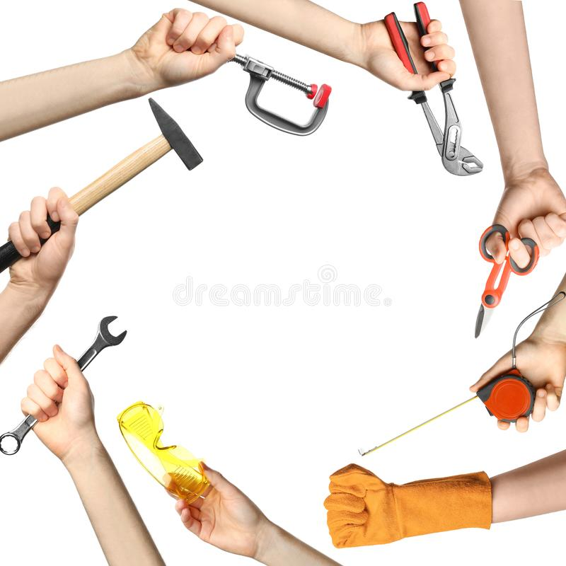 Set of men holding different construction tools on white background, closeup stock images