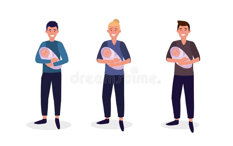 Set men mother with their babies son. Vector illustration vector illustration