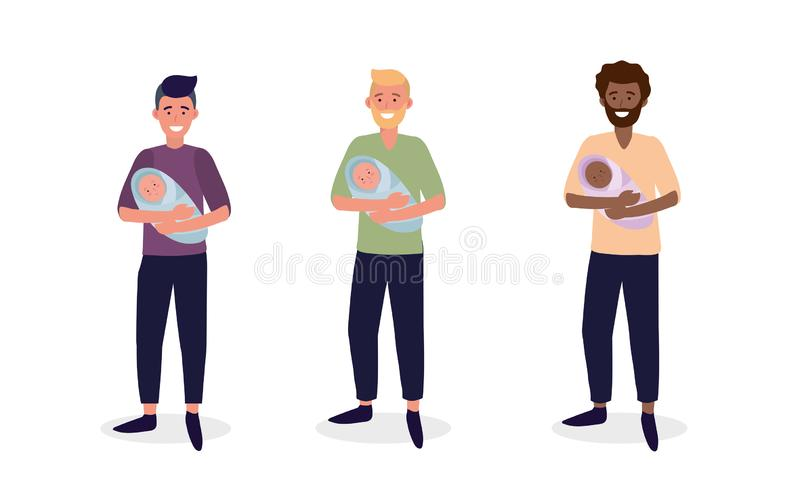 Set men mother with their cute babies son. Vector illustration royalty free illustration