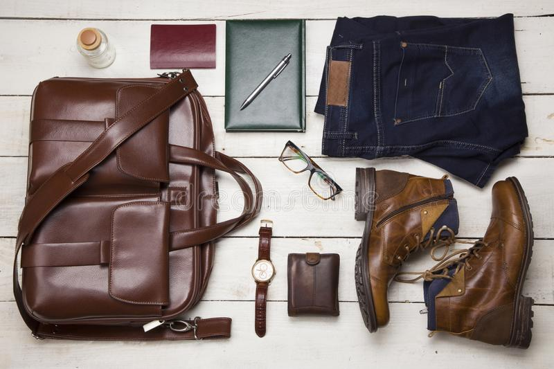 Set of men`s clothing and accessories. Hipster concept.  royalty free stock image