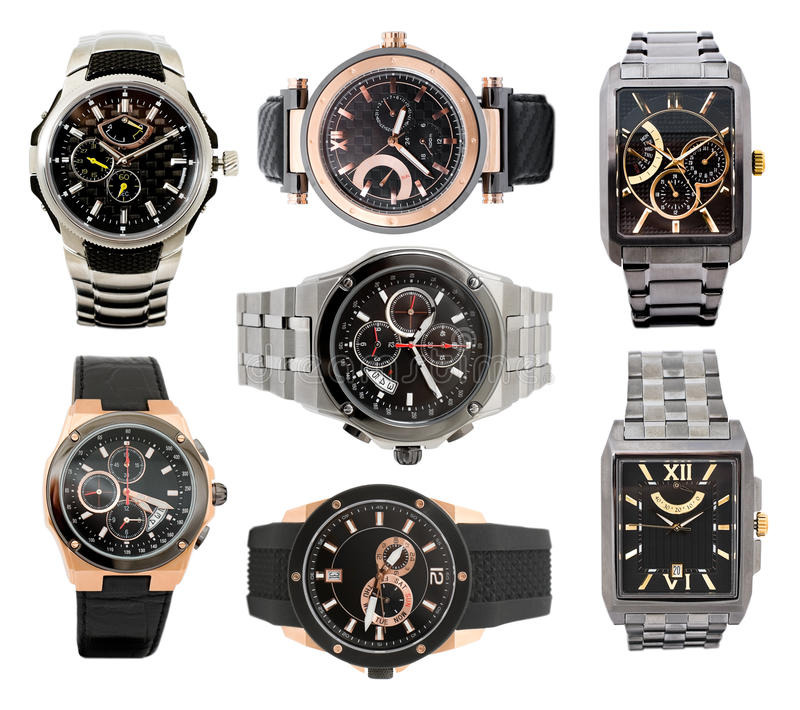 Set of men's watches royalty free stock images