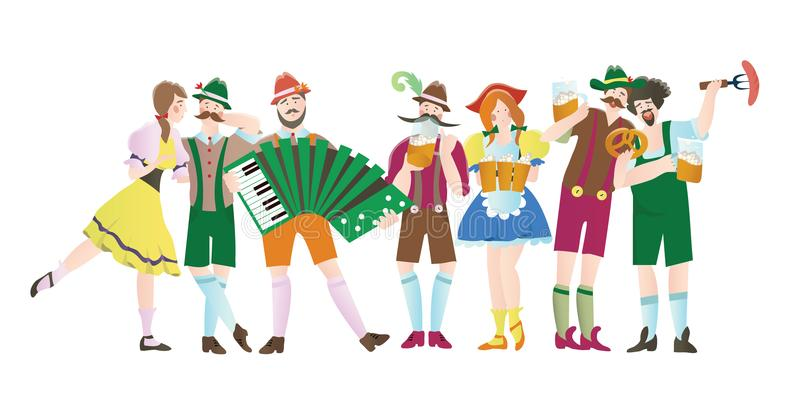 Set of men and women at Octoberfest. Characters in national costumes. Vector flat illustration for restaurant or bar royalty free illustration