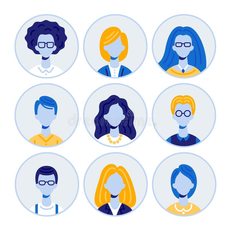 Set of Men and Women Portraits, Round Avatar Icons vector illustration