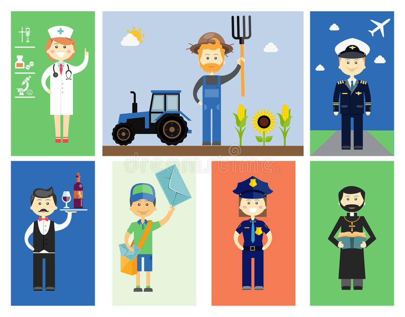 Set of men and women professional characters royalty free illustration