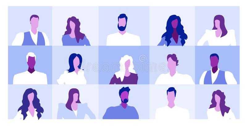 Set men women profiles avatars different business people faces portraits collection sketch horizontal vector illustration