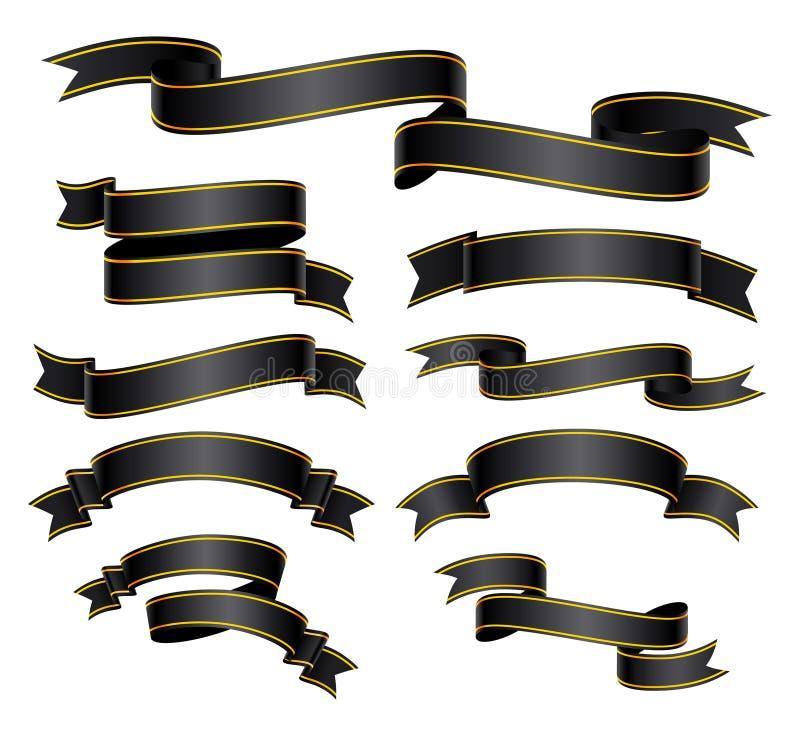Set menchia wyginający się sztandar lub faborek ilustracji
