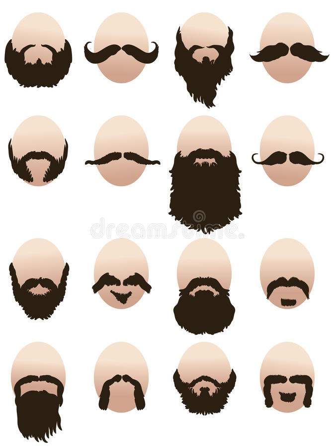 Set of mens faces with beards and mustaches vector illustration