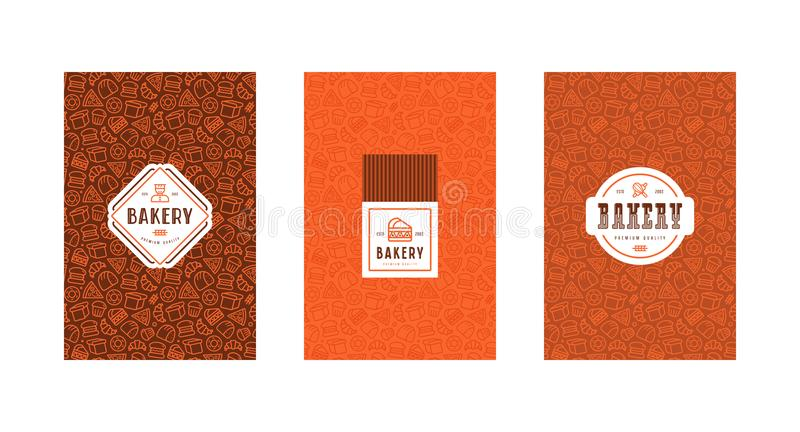 Set of menu cover, label, logo and seamless pattern for bakery vector illustration