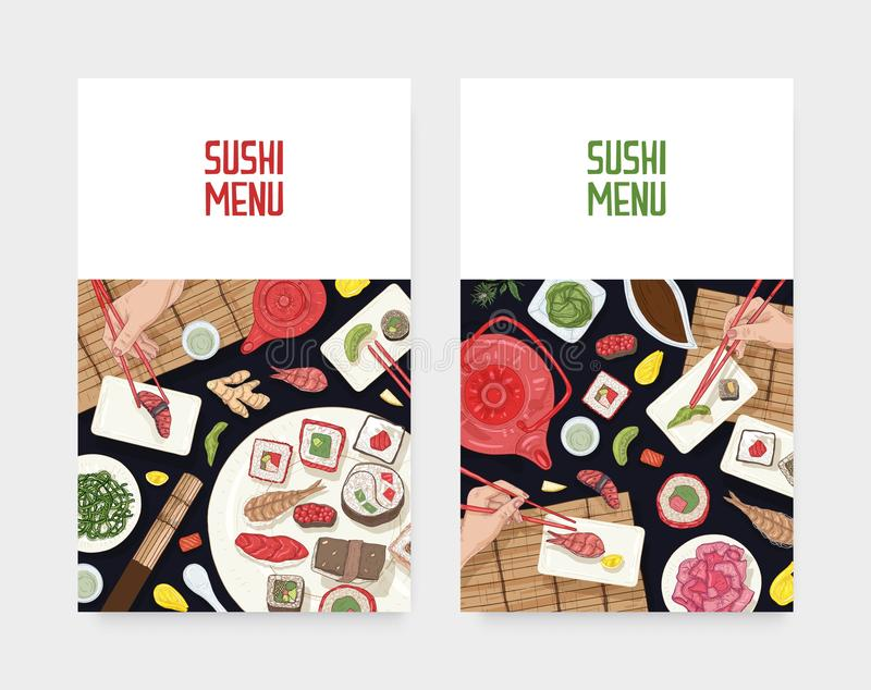Set of menu cover templates with dining table and hands holding sushi, sashimi and rolls with chopsticks on black stock illustration