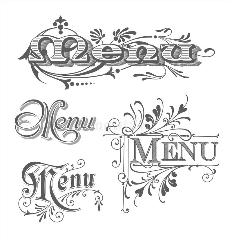 Set of Menu headlines. Calligraphic vector menu headlines for bars and restaurants vector illustration