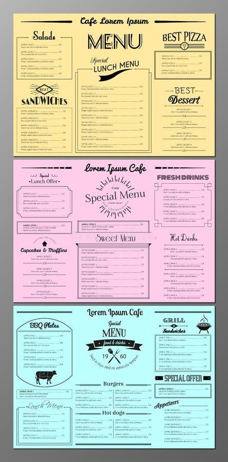 Set menu projekta szablony ilustracja wektor