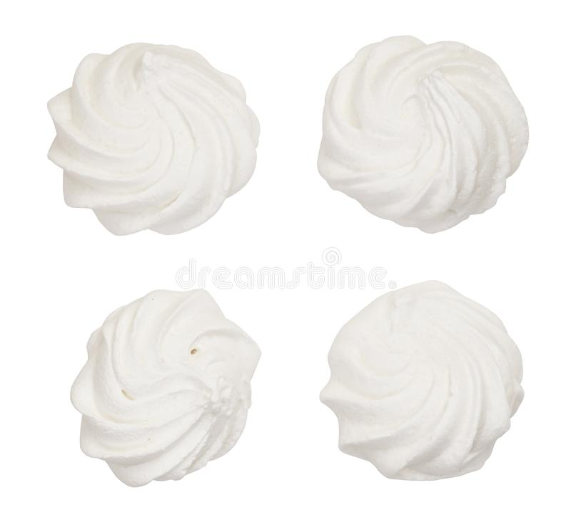 Set of meringue cookies. Isolated on white background stock images