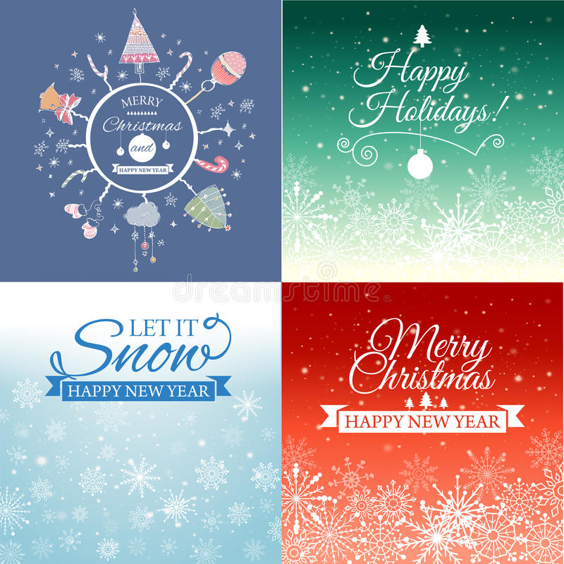 Set of Merry Christmas e-card template. Vector illustration. stock illustration