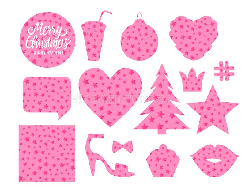 Set Merry Christmas forms Heart christmas ball tree star bubble kiss cupcake slipper. Cute design of a silhouette with vector illustration