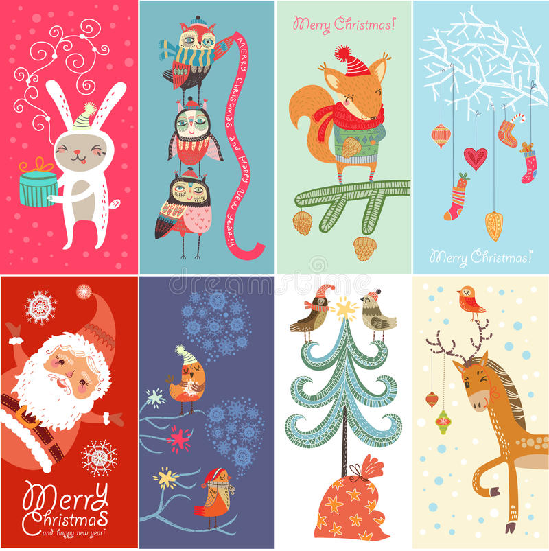 Set Merry Christmas and Happy New Year! royalty free illustration