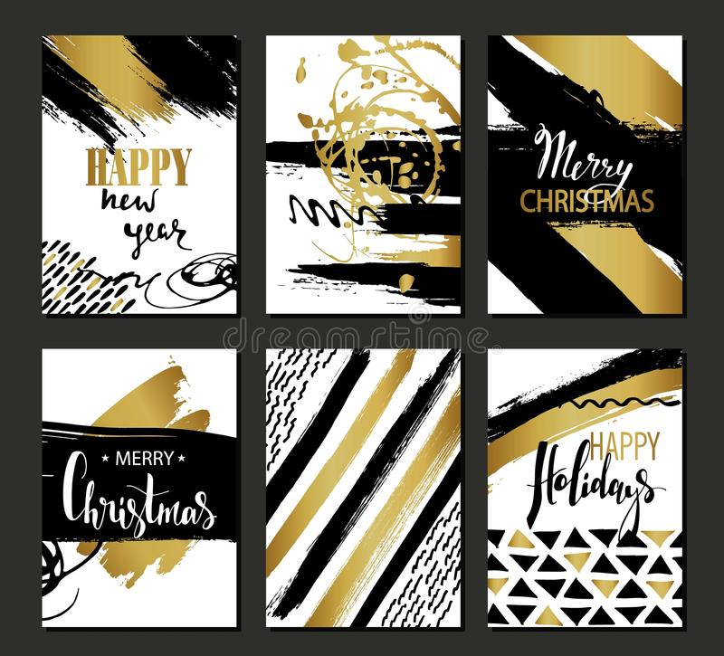 Set of Merry Christmas and Happy New Year card template. Hand drawn textures, lettering. Golden metallic, black, white colors. vector illustration