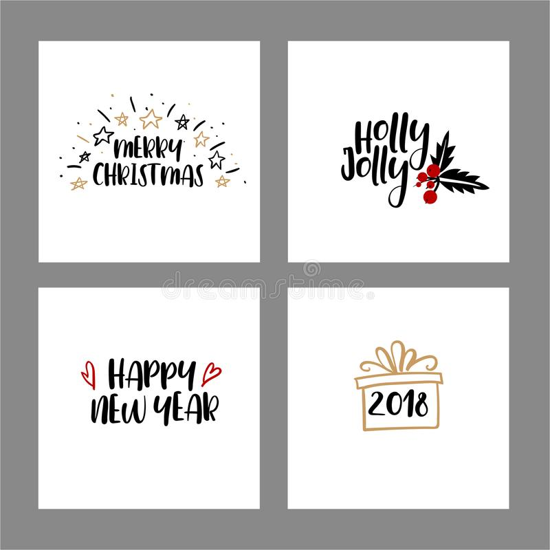 Set of Merry christmas and Happy New Year cards. Modern calligraphy. Hand lettering for greeting cards, photo overlays vector illustration