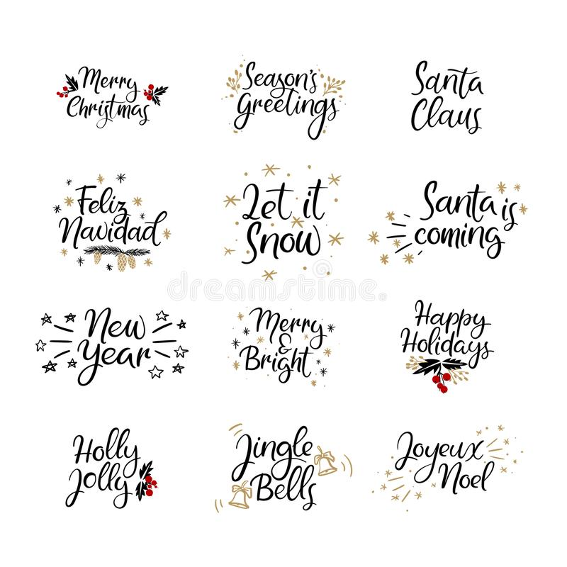 Set of Merry christmas and Happy New Year cards. Modern calligraphy. Hand lettering for greeting cards, photo overlays royalty free illustration