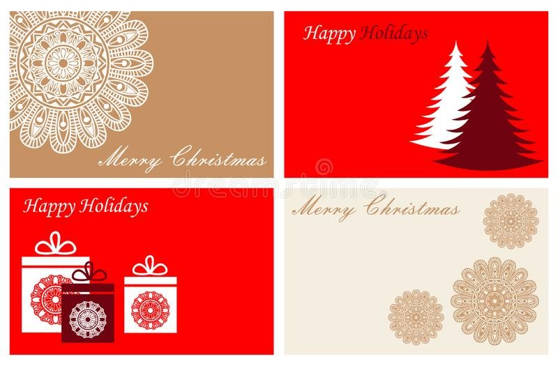 Set with Merry Christmas and Happy New Year cards vector illustration