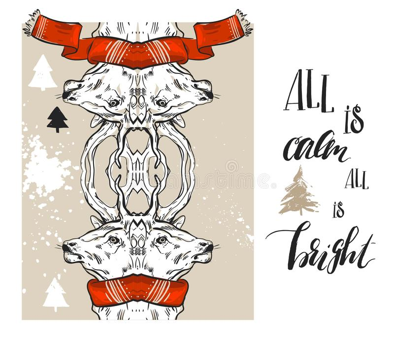 Set of merry christmas happy new year 2017 gold designs with deer elements. Ideal for xmas greeting card, holiday royalty free illustration
