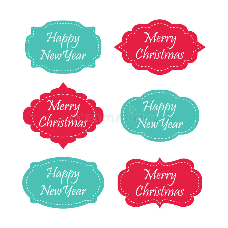 set of merry christmas and happy new year labels stock illustration