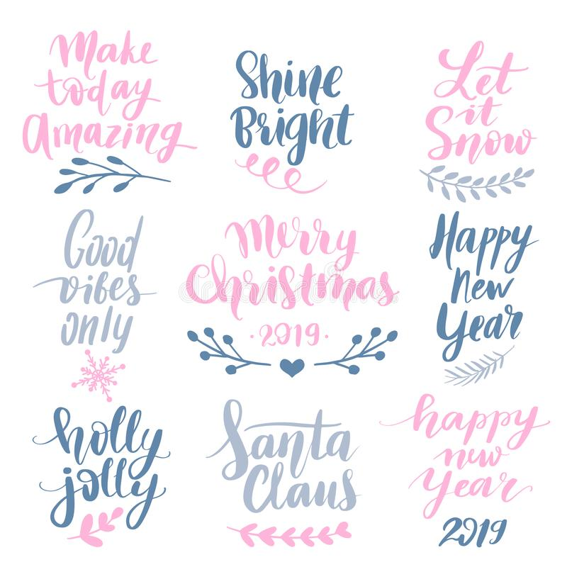 Set Merry Christmas and Happy New Year 2019 Vector hand drawn lettering phrases vector illustration