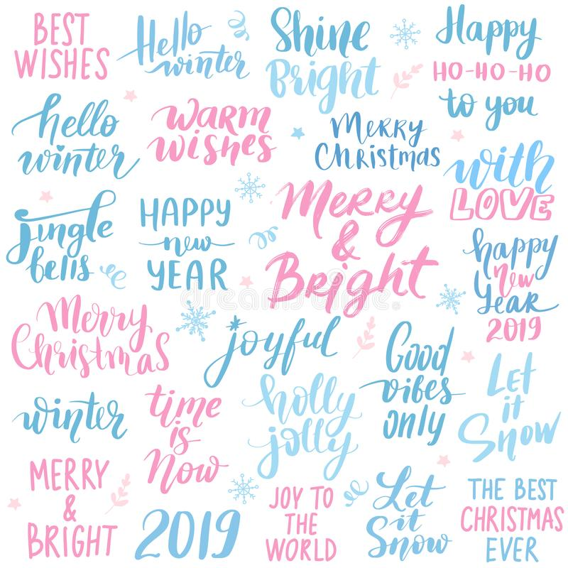 Set Merry Christmas and Happy New Year 2019 Vector hand drawn lettering phrases stock illustration
