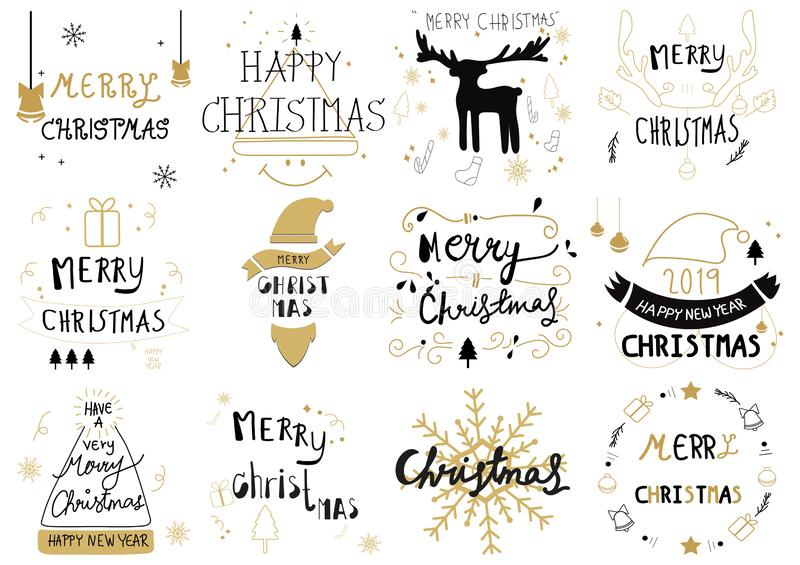 Set of Merry Christmas and new year calligraphy Decoration Hand-drawn design elements vector doodle. sketch illustration stock illustration