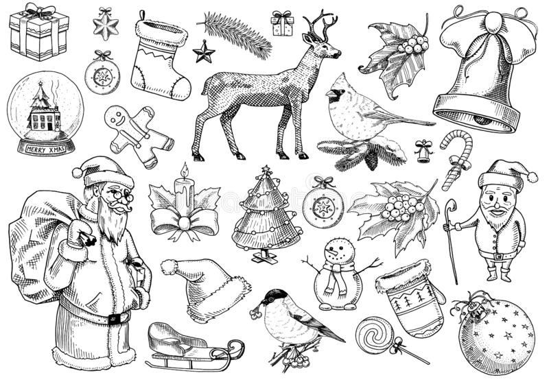 Set of Merry Christmas and New Year, xmas elements with animals and Santa Claus. engraved hand drawn in old sketch and royalty free illustration