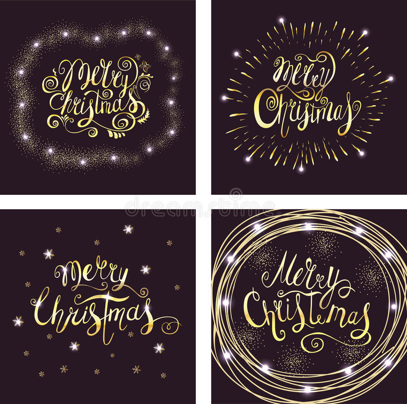 Set of Merry Christmas Vector Greeting Cards with Gold Lettering. royalty free illustration