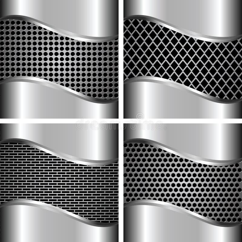 A set of metal backgrounds 3. A set of metal background for your design stock illustration